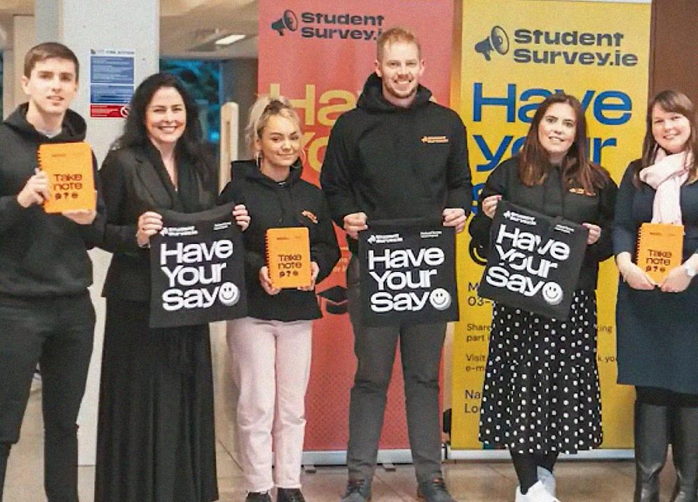 Students and staff working together to promote the survey in 2020